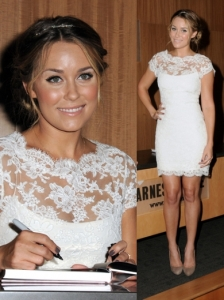 Lauren Conrad in Notte by Marchesa Lace Dress