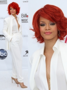 Rihanna in Max Azria White Pant Suit