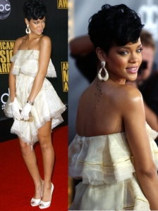 Rihanna in Zac Posen Ruffle Dress