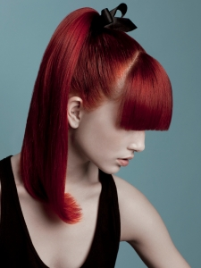 Chic Red Ponytail Hair Style