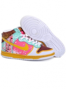 Nike High Top Pink And Yellow Sneakers