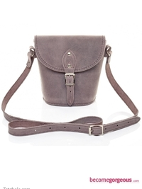 Lilac Distressed Leather Barrel Bag