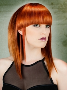 Blunt Bangs Medium Hair Style