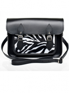 Black Leather with Zebra Faux Fur Satchel