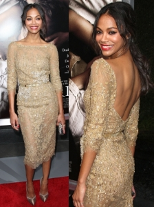 Zoe Saldana Elie Saab Golden Dress
