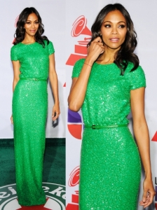 Zoe Saldana in Elie Saab Green Sequin Gown