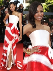 Zoe Saldana in Armani Prive Striped Gown
