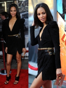 Zoe Saldana in Balmain V-Neck Dress