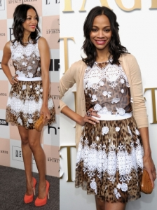 Zoe Saldana in Leopard Lace Dress
