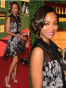 Zoe Saldana in Jason Wu Petal Print Dress