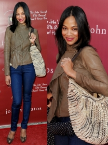 Zoe Saldana in Leather Jacket and Jeans