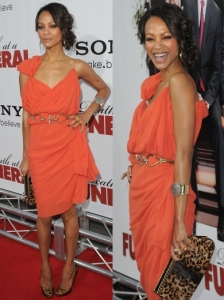 Zoe Saldana in Orange Lanvin Dress