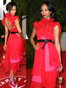 Zoe Saldana in Red Prabal Gurung Dress