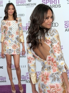 Zoe Saldana in Balmain Floral Dress