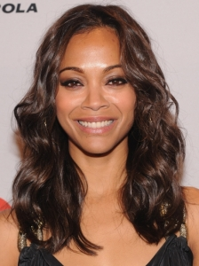Zoe Saldana Shiny Curls Hairstyle