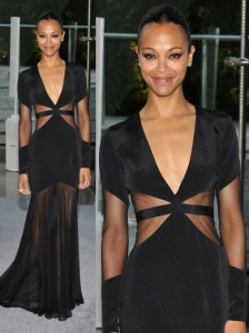 Zoe Saldana in Prabal Gurung V-Neck Mesh Gown