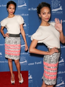 Zoe Saldana in Giambattista Valli Tweed Skirt