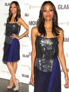 Zoe Saldana in Reed Krakoff Sequin Dress