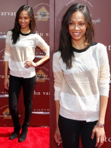 Zoe Saldana Casual Look in A.L.C.