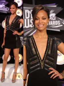 Zoe Saldana in Barbara Bui Metallic Dress