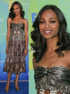 Zoe Saldana in Lanvin Strapless Dress