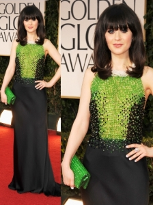 Zooey Deschanel in Prada at 2012 Golden Globes