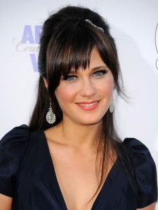 Zooey Deschanel Half Updo with Bangs