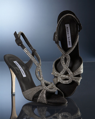 Manolo Blahnik Crystal And Chain Shoes