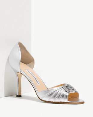 Manolo Blahnik Metallic D'orsay Shoes