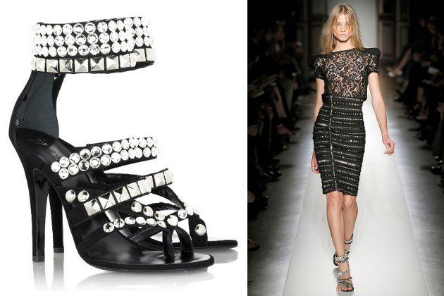 Balmain Studded Crystal Sandals