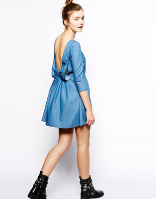 Bow Back Denim Dress