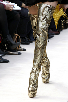 Metallic Print Thigh High Boots