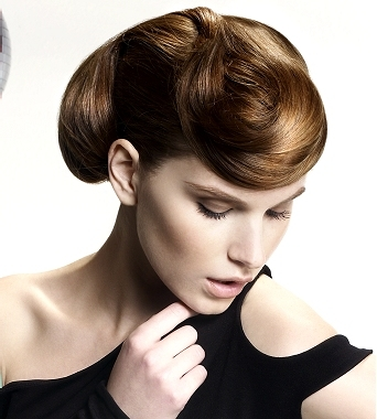 This type of cool updo hairstyles have a certain vintage look,