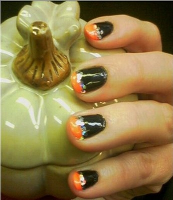 Orange and Black Nail Designs http://nailpolishdesigns.blogspot.com/