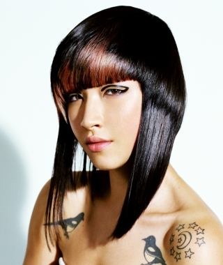 full fringe hairstyle. Full frontal angs look great