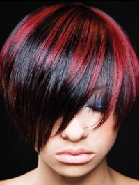Short Black Hair With Red Highlights