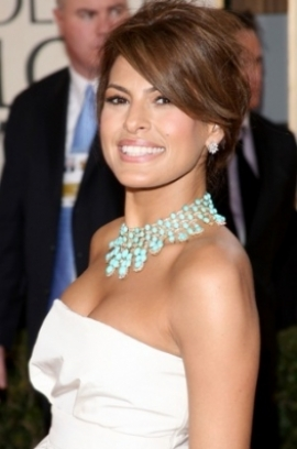 Swell Celebrity Hairstyles Get Eva Mendes39 Updo Hairstyle Short Hairstyles For Black Women Fulllsitofus