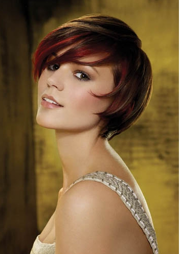 Brunette Hairstyles with Red Highlights|