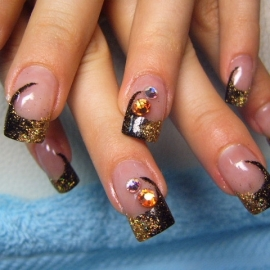 glittery nail designs thumb Stylish manicure Shiny nails art design shiny design nails art nail art design modern look glitter effect fantastic shine amazing design