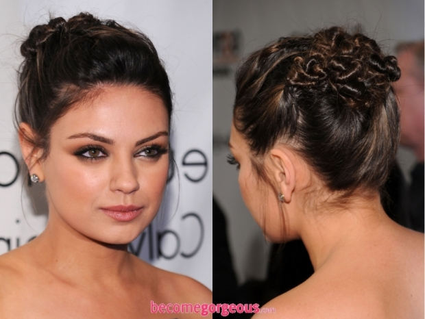 Mila Kunis Twisted Updo New Years Party Hairstyles
