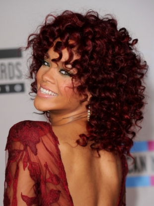 Rihanna's Curly Red Hairstyle