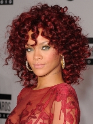salon styler hairstyle. Rihanna#39;s Curly Red Hairstyle