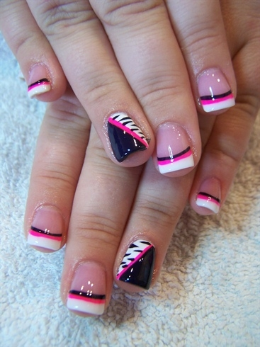 Nail art - bright orange tips | here ive painted the tips ...  |Painting Tip Nail Ideas