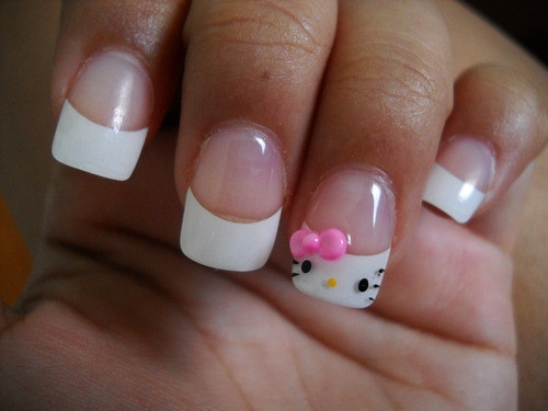 Hello Kitty French Nails Designs