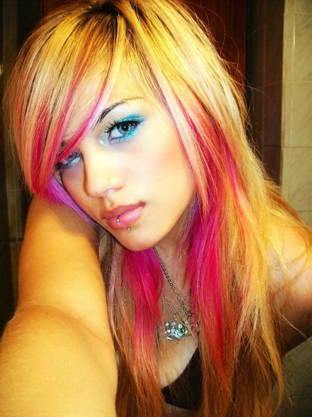 Pink Hair with Blonde Highlights