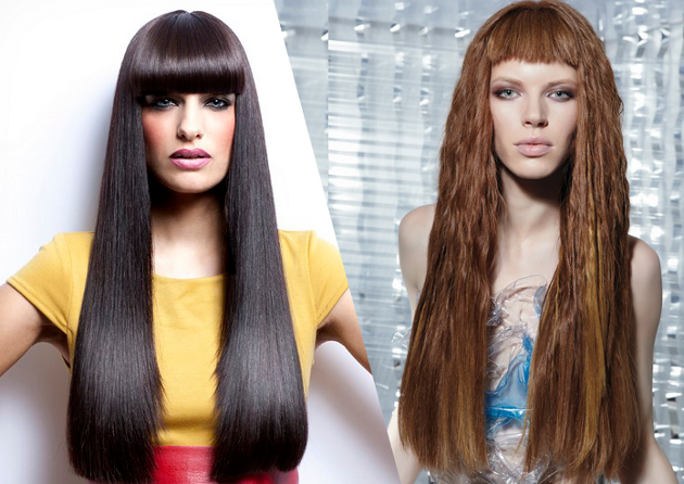 Chic Blunt Bangs Long Hair Styles