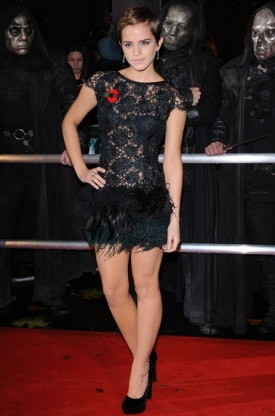 Emma Watson Black Lace Dress