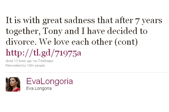 Eva Longoria Divorce Accouncement via Twitter