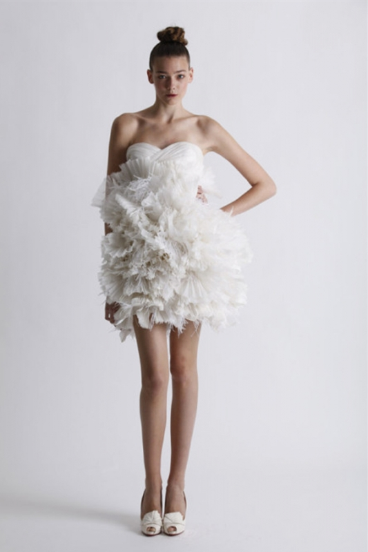 Short wedding dress from marchesa spring 2011 bridal for Skin tight wedding dresses