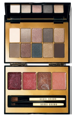 <br />Echoing the mesmerizing allure of Hollywood glam, Bobbi Brown decided to come up with a complex and crowd pleasing idea and fuse the various eye shadow shades and lip gloss tones into a beautiful ensemble as this Modern Classic Lip and Eye Palette. The tone for lips include: Golden Topaz Glitter, Paisley Rose Shimmer, Pink Bouquet Glitter as well as Grape Glitter. Whereas you have the chance to choose from eye shadow tones as: Ivory, Oyster Grey Metallic, Antique Pink Shimmer Wash, Chateau Grey, Taffeta Metallic, Birch, Heather Rose Shimmer Wash, Navy Charcoal, Gold Thread Metallic, and Espresso. <br /><br />